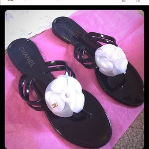 CHANEL Camellia Sandals Size 8 worn 2 times only